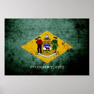 Black Grunge Delaware State Flag Poster
