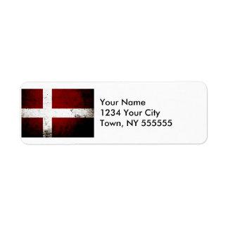 Black Grunge Denmark Flag Label