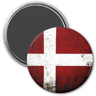 Black Grunge Denmark Flag 3 Inch Round Magnet