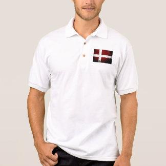 Black Grunge Denmark Flag Polo Shirt