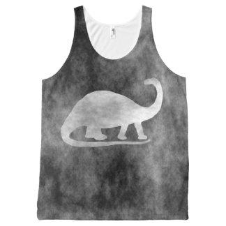 Black Grunge Dinosaur (Brontosaurus) All-Over-Print Tank Top