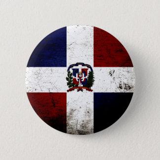 Black Grunge Dominican Republic Flag Pinback Button