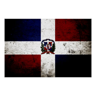 Black Grunge Dominican Republic Flag Poster