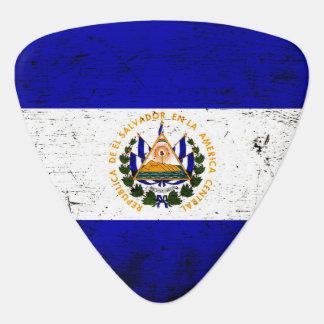 Black Grunge El Salvador Flag Guitar Pick