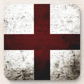 Black Grunge England Flag 2 Beverage Coasters