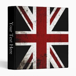 Black Grunge England Flag 3 Binder
