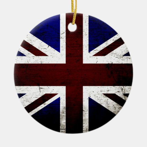 Black Grunge England Flag Christmas Tree Ornaments