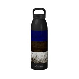Black Grunge Estonia Flag Drinking Bottles