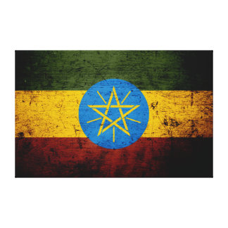 Black Grunge Ethiopia Flag Canvas Print
