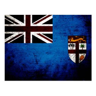 Black Grunge Fiji Flag Postcard