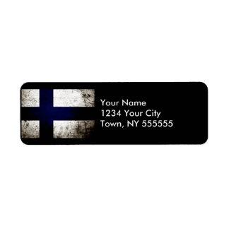 Black Grunge Finland Flag Label