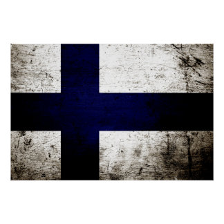 Black Grunge Finland Flag Poster