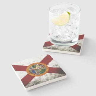 Black Grunge Florida State Flag Stone Beverage Coaster