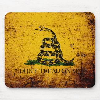 Black Grunge Gadsden Flag Mouse Pad