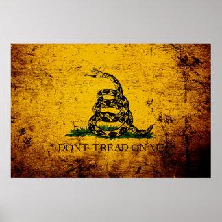 Black Grunge Gadsden Flag Poster