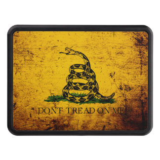 Black Grunge Gadsden Flag Tow Hitch Cover