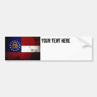 Black Grunge Georgia State Flag Bumper Sticker