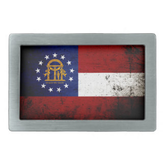 Black Grunge Georgia State Flag Rectangular Belt Buckle