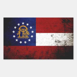 Black Grunge Georgia State Flag Rectangular Sticker