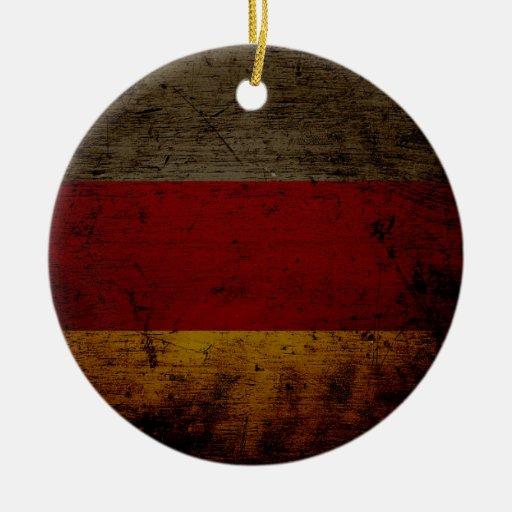 Black Grunge Germany Flag 2 Christmas Tree Ornament