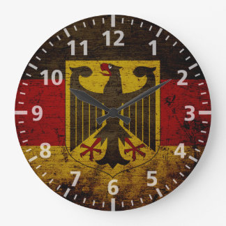 Black Grunge Germany Flag Large Clock