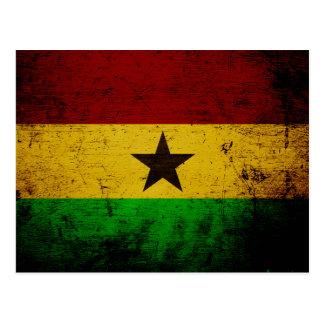 Black Grunge Ghana Flag Postcard