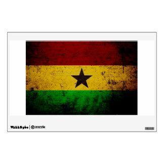 Black Grunge Ghana Flag Wall Sticker