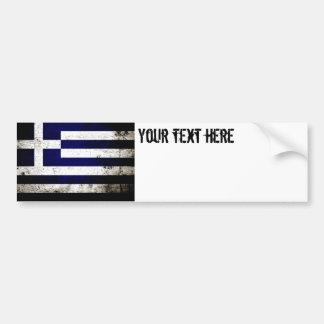 Black Grunge Greece Flag Bumper Sticker