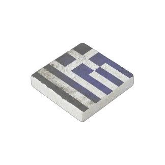 Black Grunge Greece Flag Stone Magnet