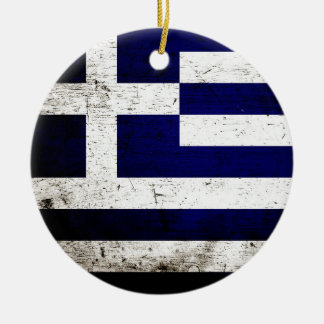 Black Grunge Greece Flag Double-Sided Ceramic Round Christmas Ornament