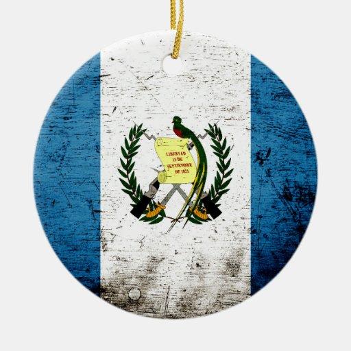 Black Grunge Guatemala Flag Ornament