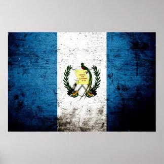 Black Grunge Guatemala Flag Poster
