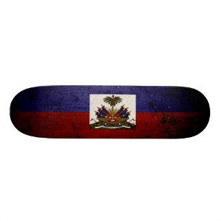 Black Grunge Haiti Flag Skateboard Deck