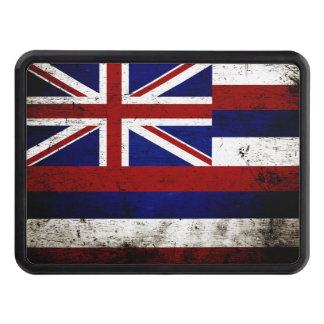 Black Grunge Hawaii State Flag Tow Hitch Cover