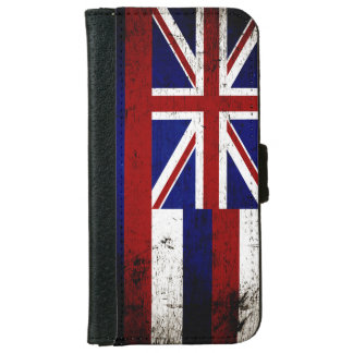 Black Grunge Hawaii State Flag Wallet Phone Case For iPhone 6/6s