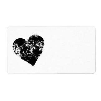 Black grunge heart label