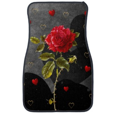 Valentines Themed Black Grunge Hearts with Red Rose Car Floor Mat