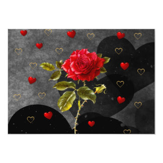 Black Grunge Hearts with Red Rose Card