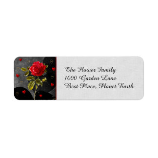Black Grunge Hearts with Red Rose Label