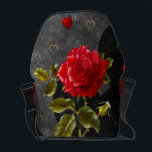 """Black Grunge Hearts with Red Rose Messenger Bag<br><div class=""""desc"""">Background of black grunge hearts,  a big glowing red rose,  and hearts of thin gold outlines and also bright red and juicy stands out as unique and artistic.</div>"""