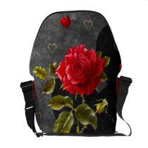 Black Grunge Hearts with Red Rose Messenger Bag