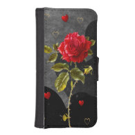Black Grunge Hearts with Red Rose Phone Wallets