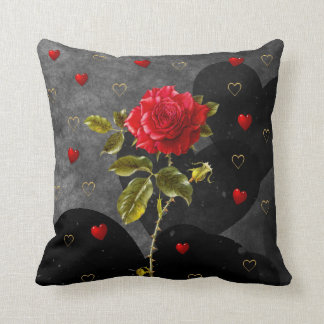 Black Grunge Hearts with Red Rose Throw Pillow