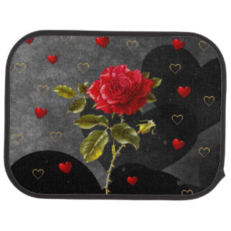 Black Grunge Hearts with Red Rose Floor Mat