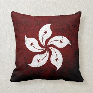 Black Grunge Hong Kong Flag Throw Pillow