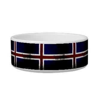 Black Grunge Iceland Flag Pet Food Bowl