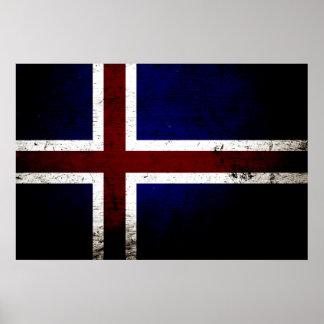 Black Grunge Iceland Flag Poster