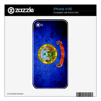 Black Grunge Idaho State Flag Decals For iPhone 4