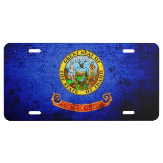 Black Grunge Idaho State Flag License Plate