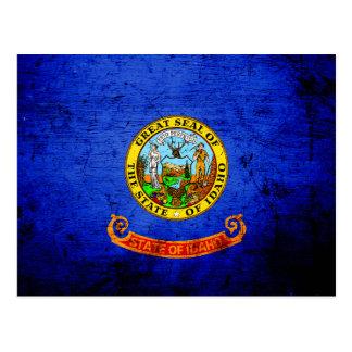Black Grunge Idaho State Flag Postcard